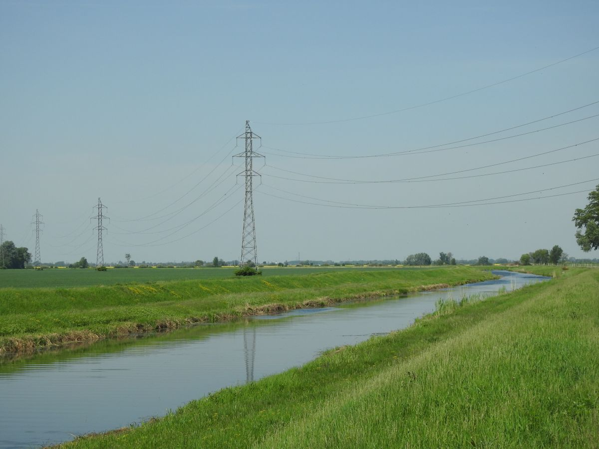Power lines over the Danube canal in Slovakia